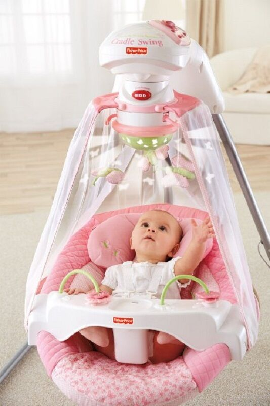 Newborn Baby Girl Toys : Fisher price swing pink cradle rocker infant baby girl