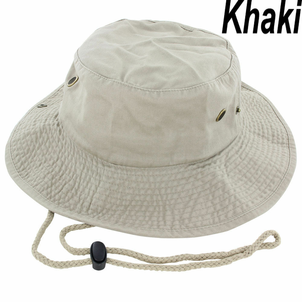 facd480ee78 Details about Mens Boonie Bucket Hat Cap Cotton Fishing Hunting Safari  Summer Military Khaki