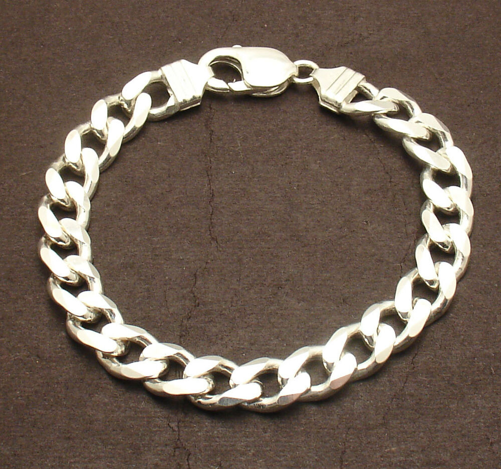 8 mens italian bold solid miami cuban link chain bracelet. Black Bedroom Furniture Sets. Home Design Ideas