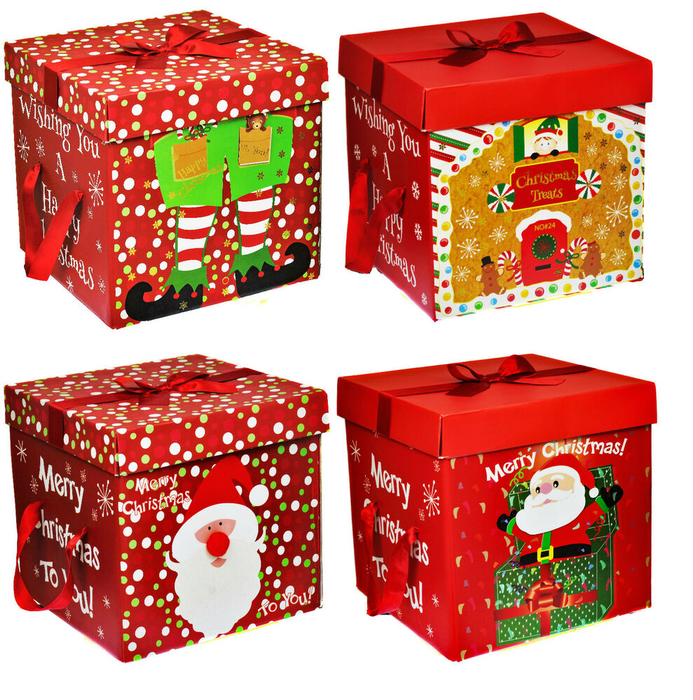 Large premium christmas eve gift box lid ribbon handles
