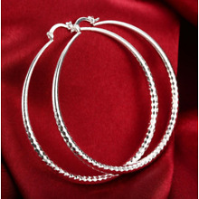 Womens 925 Sterling Silver Extra Large 70mm Diamond-Cut Round Hoop Earrings E109