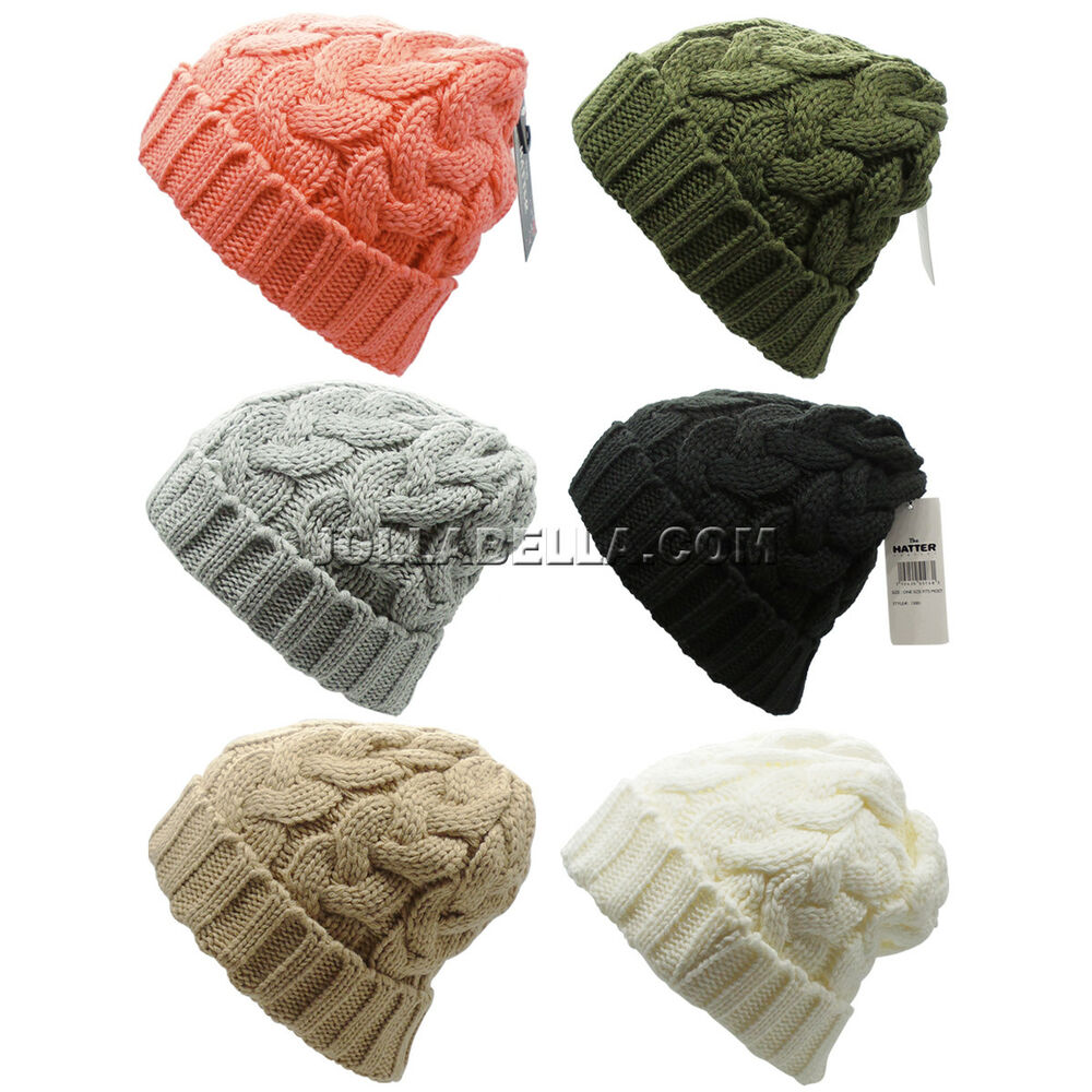 Details about Beanie Ponytail Hole Hair Bun Tail Soft Stretch Cable Knit  Winter Hat Ski Colors 8c46d73c710