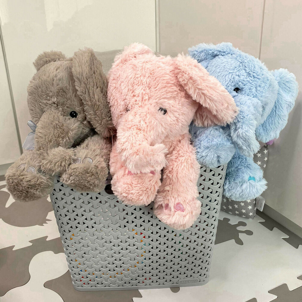 "11"" Plush Super Soft Elephant Teddy Bear Cuddling Baby"
