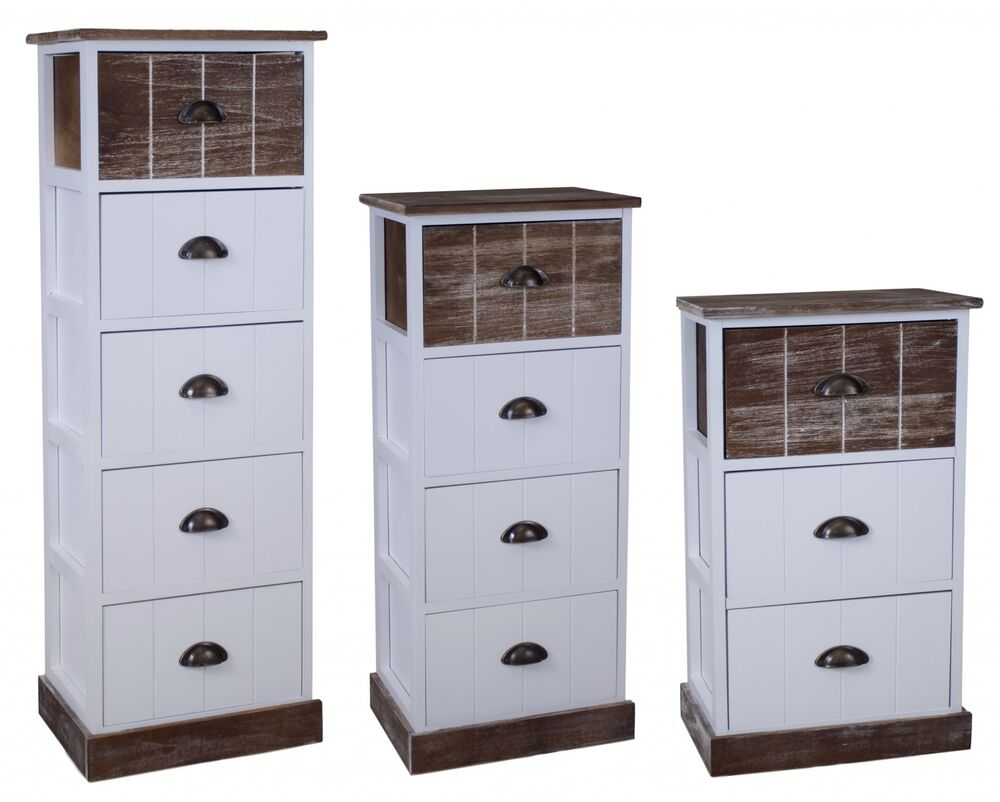 kommode 111cm hoch schrank schubladen braun landhaus shabby chic vintage wei ebay. Black Bedroom Furniture Sets. Home Design Ideas