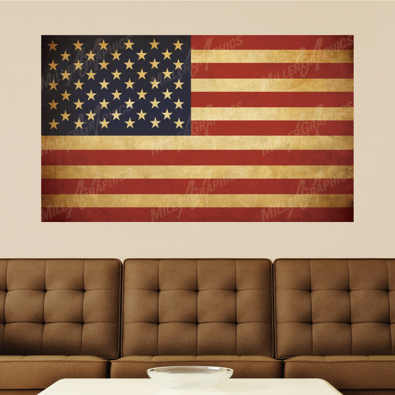 vintage american flag distressed vinyl wall decal sticker graphic