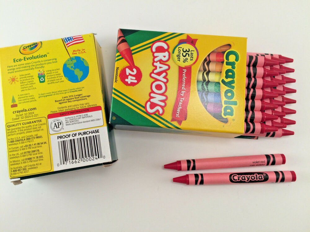 48 Crayola Crayons ** VIOLET RED ** Bulk Lot 2 Boxes, 24 ...