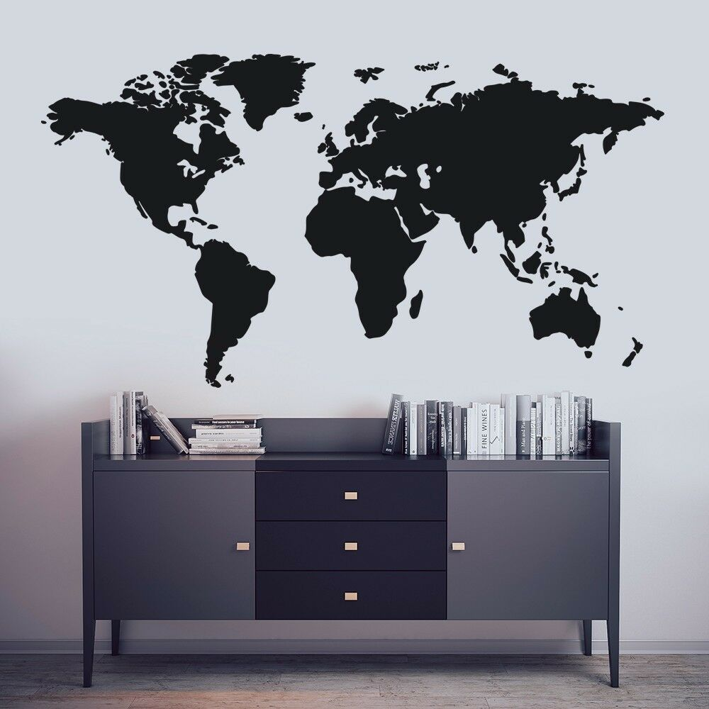 World Map Decal Large Map Wall Sticker Wall Art Decal Removable Wall