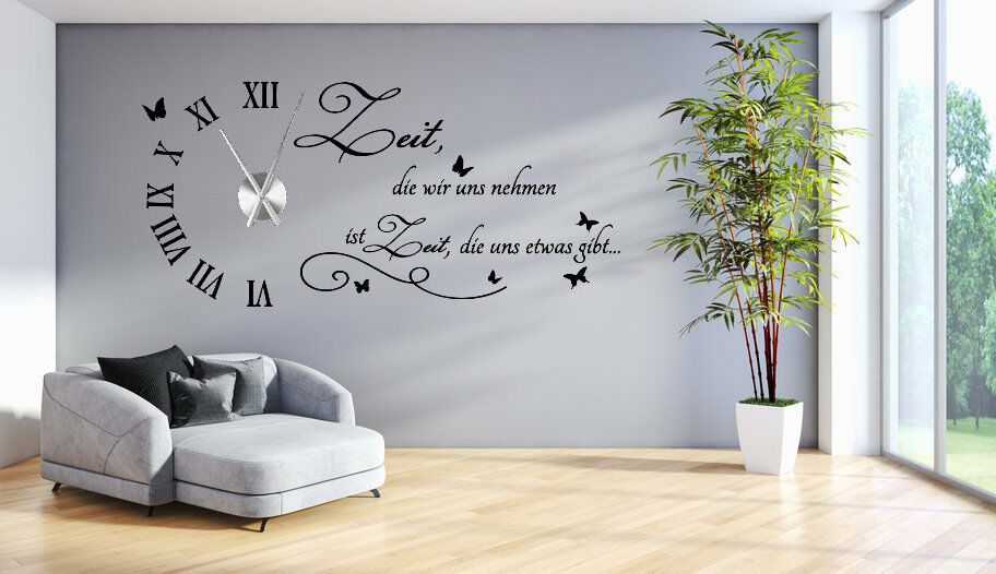 wanduhr wandtattoo uhr wohnzimmer wandsticker wandaufkleber spruch uhrwerk tku1 ebay. Black Bedroom Furniture Sets. Home Design Ideas