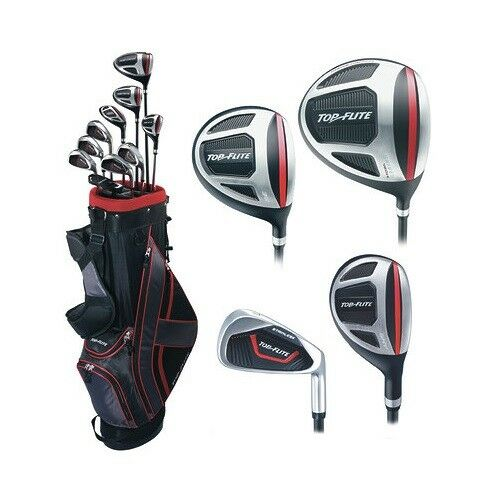 Top Flite Golf Xl 13 Piece Men S Complete Bag Box Set Left Hand Black Red New 886081998401 Ebay