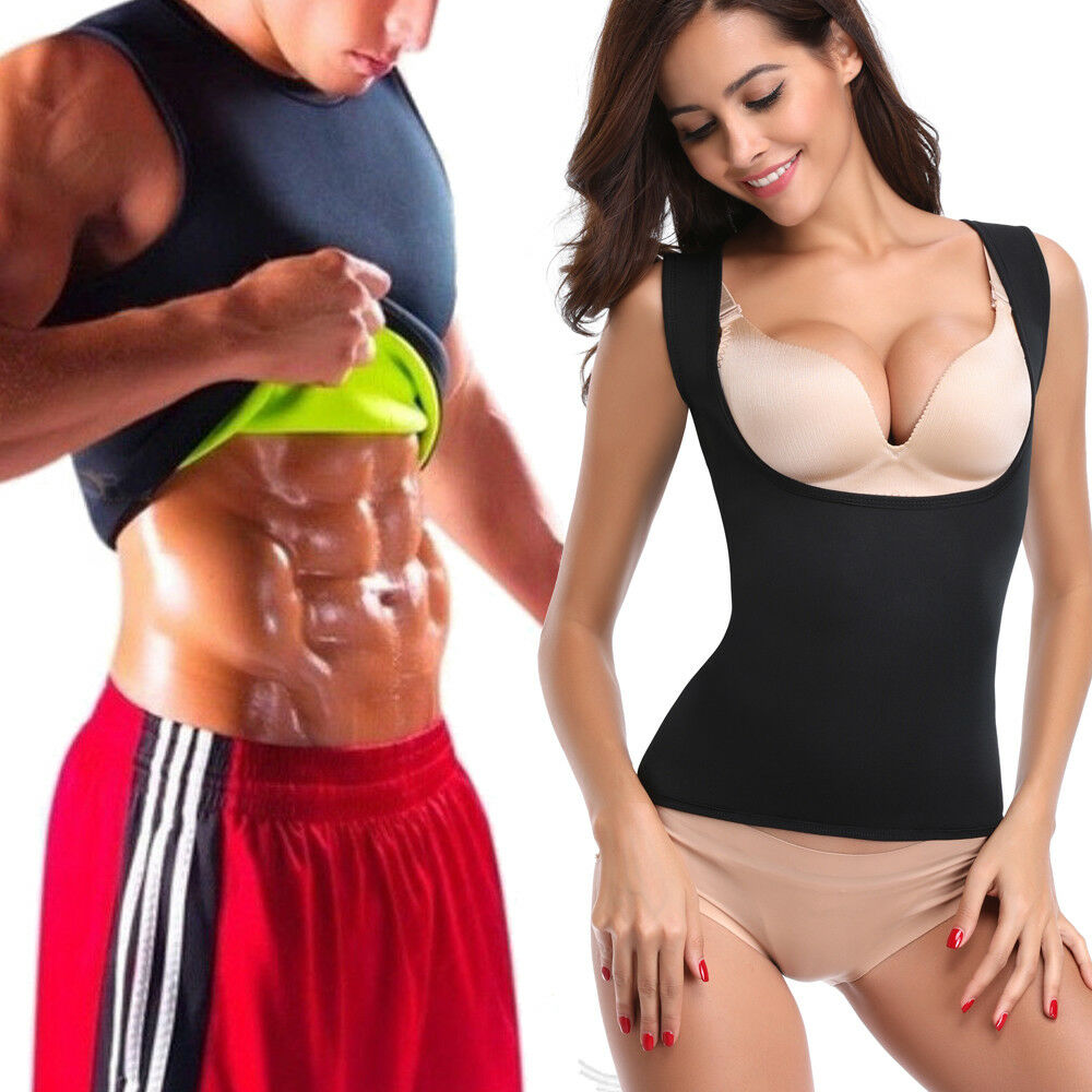 6ff2ccc368 Details about Men s Neoprene Slim Vest Cami Top Hot Shapers Gym Women Body  Sauna Sweat Thermal