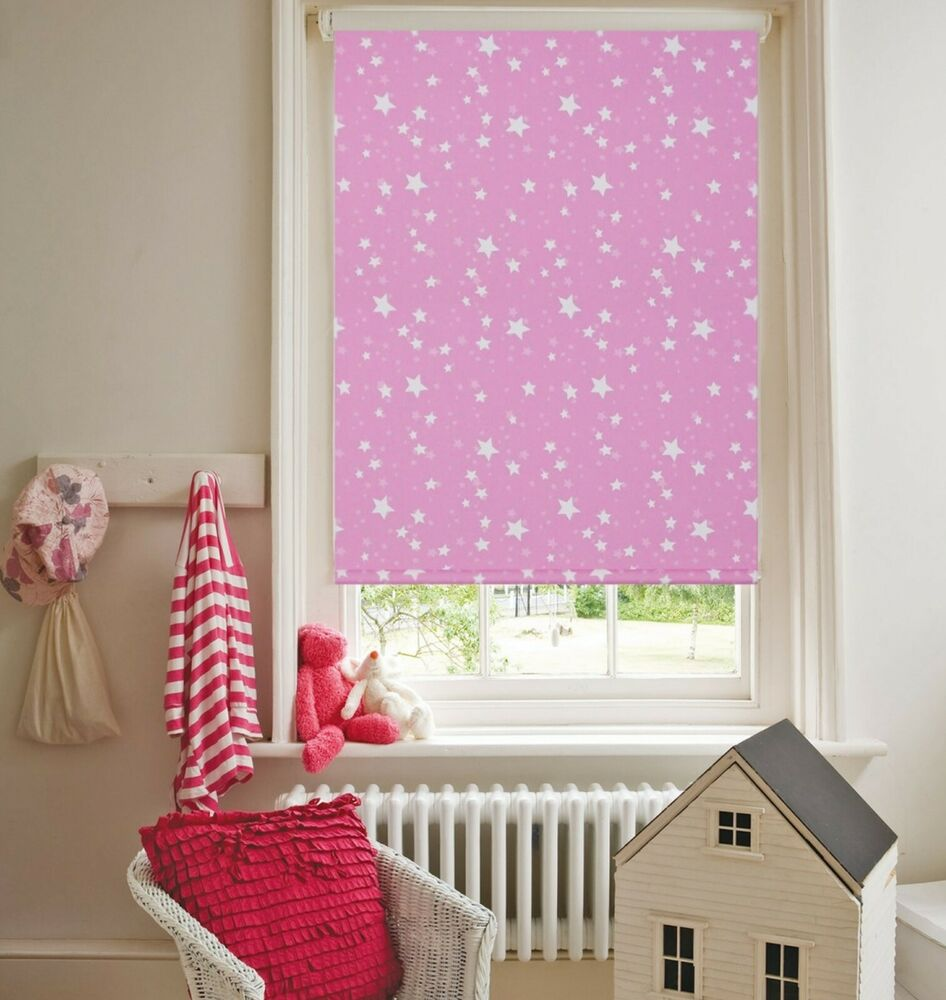 Details About Starshine Pink Blackout Thermal Roller Blind Ideal Kids Blinds Nursery