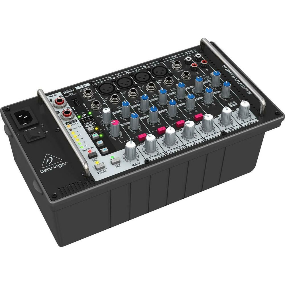 behringer 500w 8 channel powered mixer with mp3 player reverb and wireless 748252176547 ebay. Black Bedroom Furniture Sets. Home Design Ideas