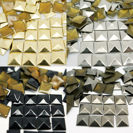 img-Pyramid Hot Fix Square Metal Studs Iron On Leather Craft Bags Shoes Belt