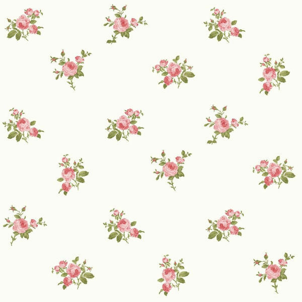Dollhouse Miniature Shabby Chic Wallpaper Pink On White