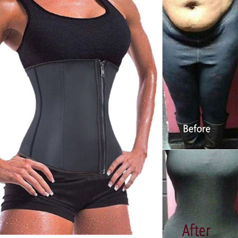 863e067563 Details about US Latex Waist Cincher Waist Trainer Trimmer Long Torso with  3 Hook Rows Zip UP