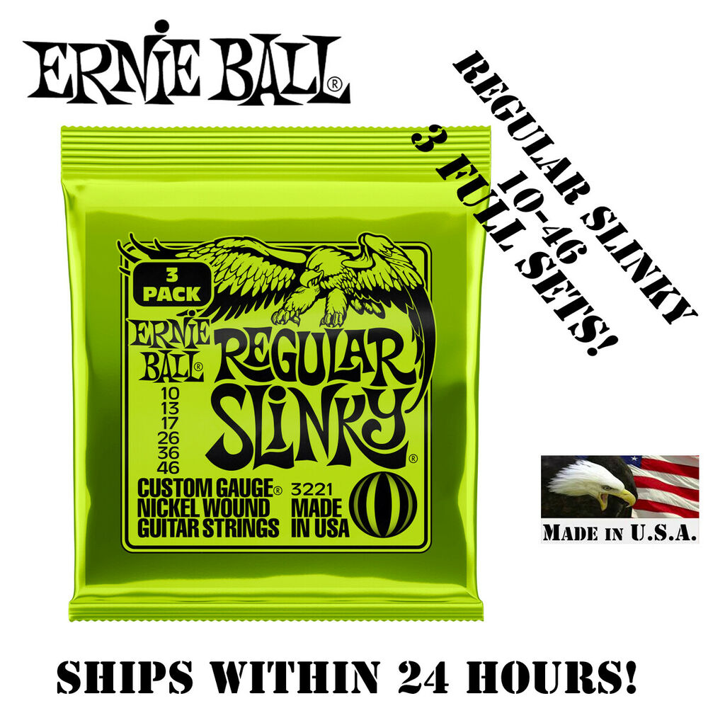 3 sets ernie ball 2221 regular slinky electric guitar strings 10 46 ebay. Black Bedroom Furniture Sets. Home Design Ideas