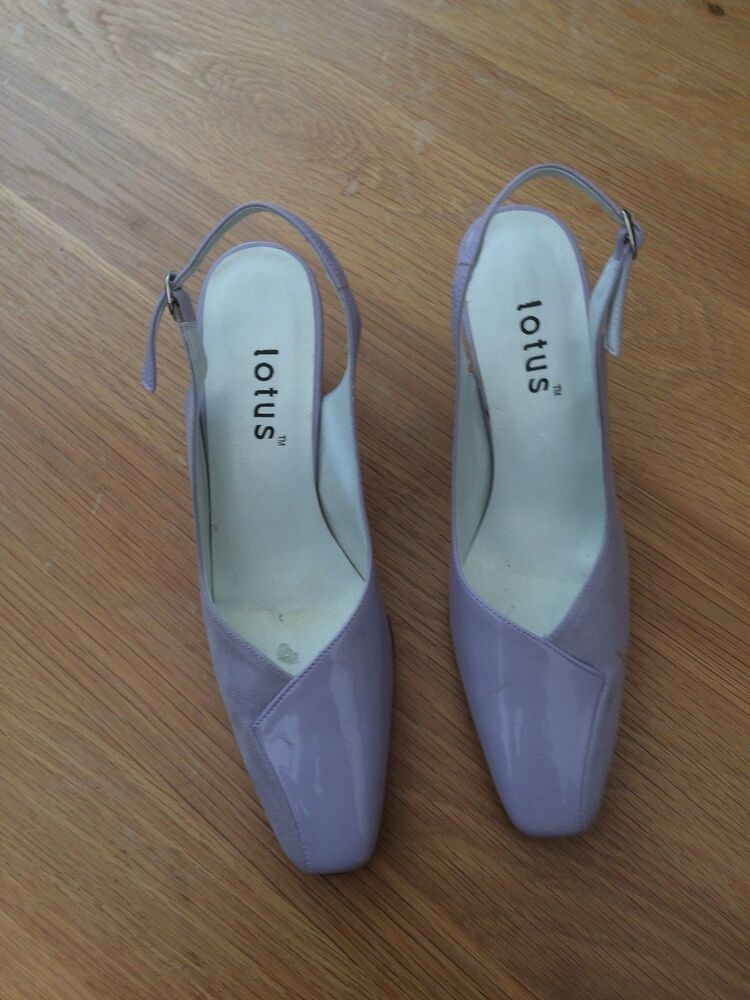 f4b9cd7e1dade8 LOTUS Shoes Womens Pale Lilac Square Toe Slingback Shoes Leather Suede Mix  Size