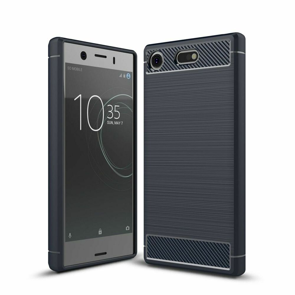 sony xperia xz1 compact handy h lle tpu case carbon fiber schutz cover blau neu ebay. Black Bedroom Furniture Sets. Home Design Ideas