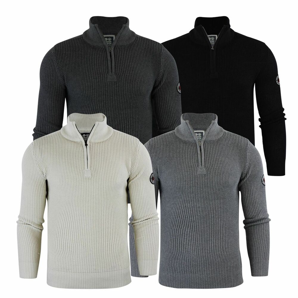 c8b652eaa8e252 Mens Jumper Crosshatch Fireguard Waffle Knitted 1/4 Zip Up Funnel Neck.  Sweater | eBay