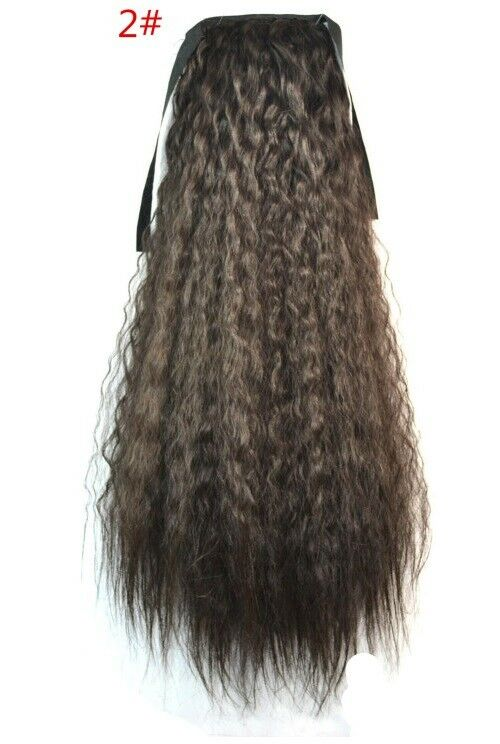 Natural Black Straight Fluffy Yaki Wrap On Clip In Hair Extensions