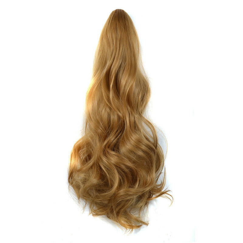 Golden Blonde Thick Wavy Claw Clip In Hair Extensions Ponytail 216
