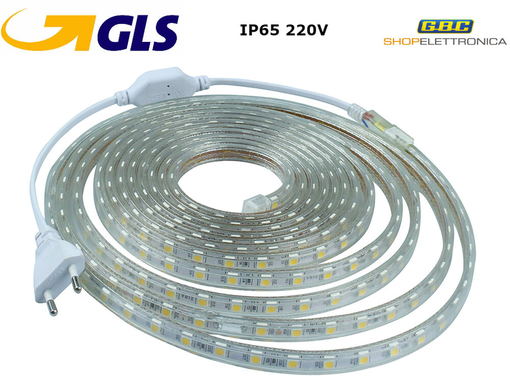 Striscia strip led bobina smd 5050 ip65 spina 220v bianca for Luci a tubo led