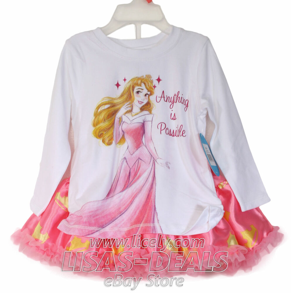 Disney Tutu Couture 2 Piece Set Top Shirt Skirt Outfit Sleep Mom N Bab Blouse Emily Pink Size 4t Beauty 2t Ebay