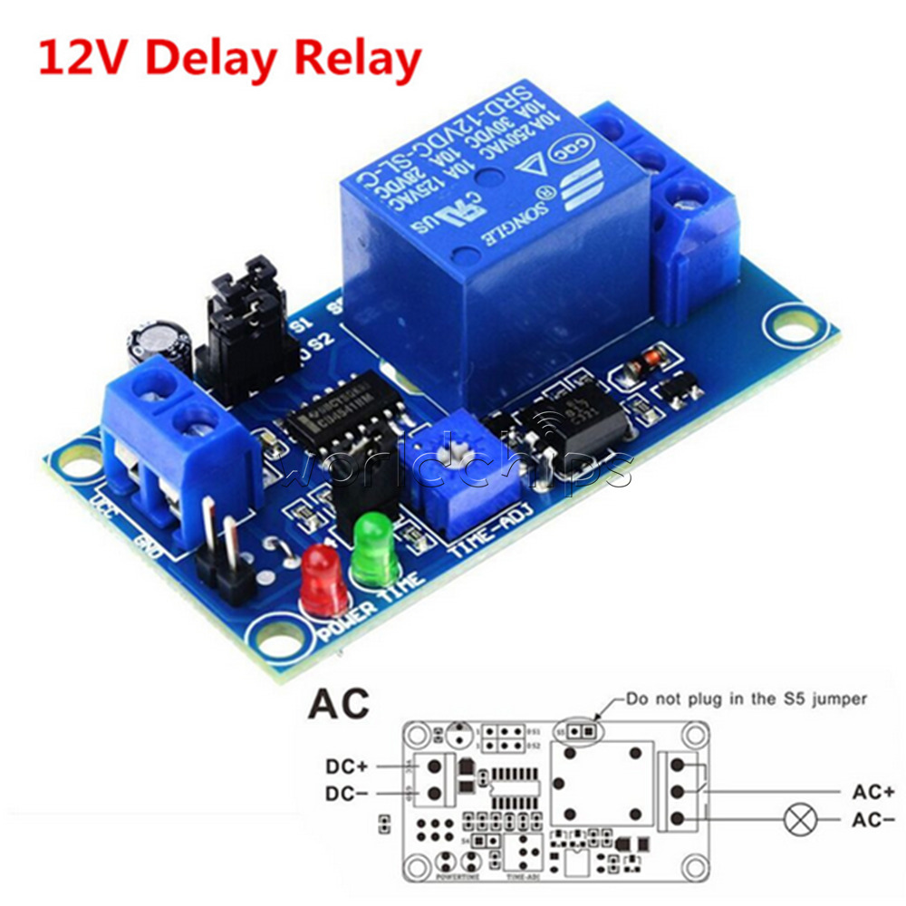Dc 12v Delay Timing Timer Relay Turn On Turn Off Switch
