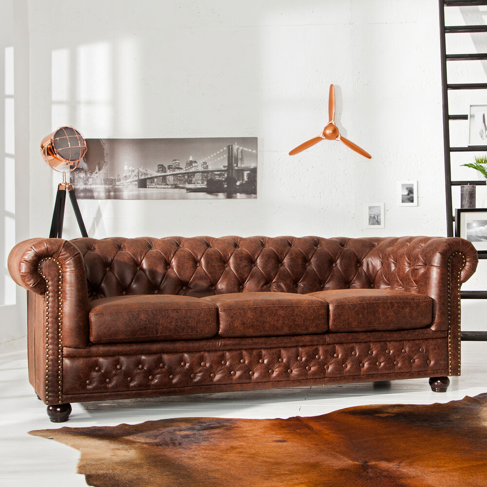hochwertiges chesterfield sofa vintage braun echtes. Black Bedroom Furniture Sets. Home Design Ideas