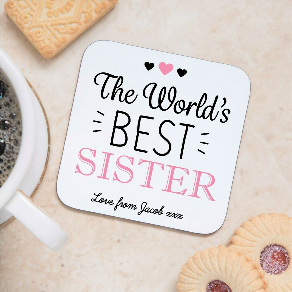 Details About Personalised Sentimental Worlds Best Sister Wood Coaster Birthday Gift Present