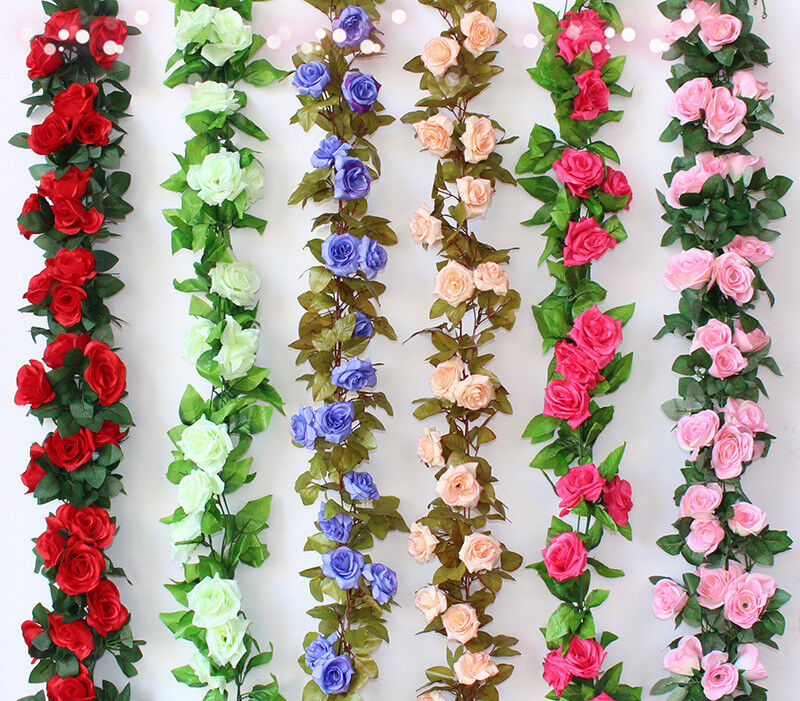 2.4M String Fake Artificial Rose Flowers Vine Ivy Leaf