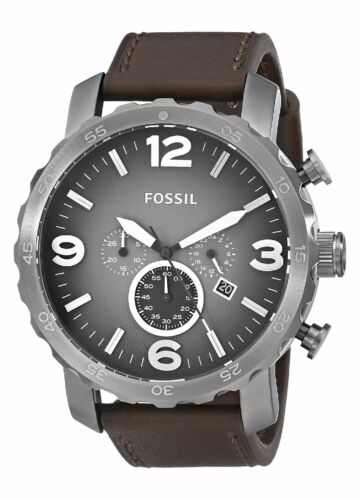 Fossil Men's JR1424 Nate Chronograph Leather Watch - Brown