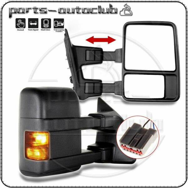 Towing Mirrors Manual W/Smoke Turn Signal PAIR For Ford F250 350 450 Side Mirror