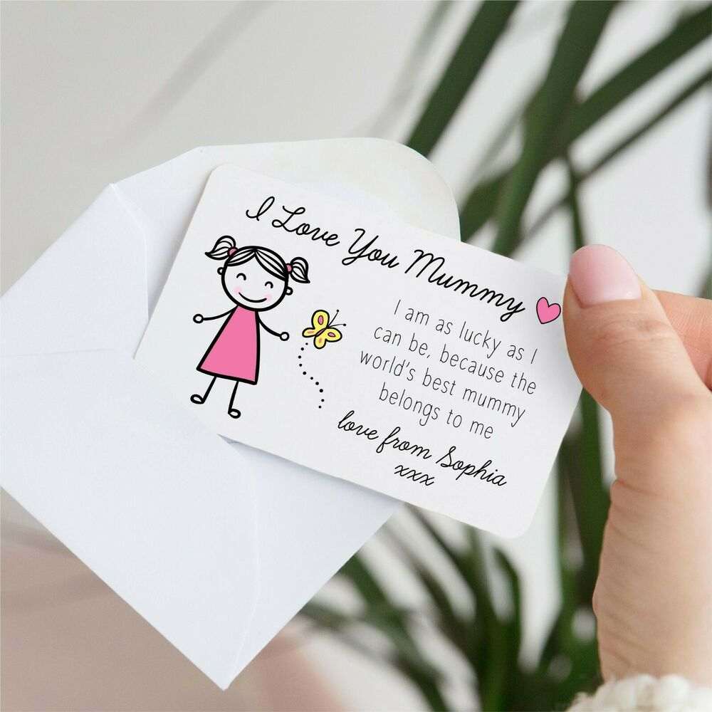 Details About I Love Mummy Girl Sentimental Metal Wallet Card Birthday Gift Present Daughter