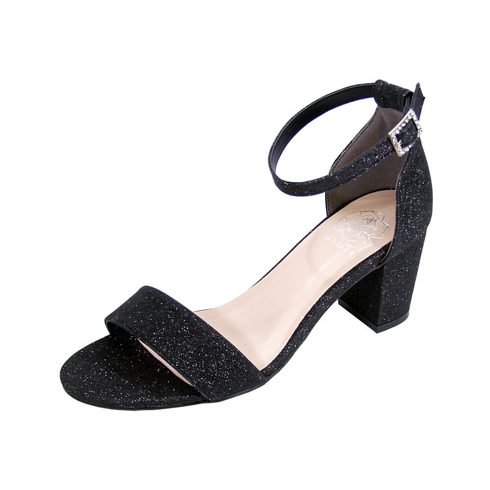 95330a89193a Details about FLORAL Adele Women Wide Width Satin Glitter Block Heel Ankle  Strap Party Sandals