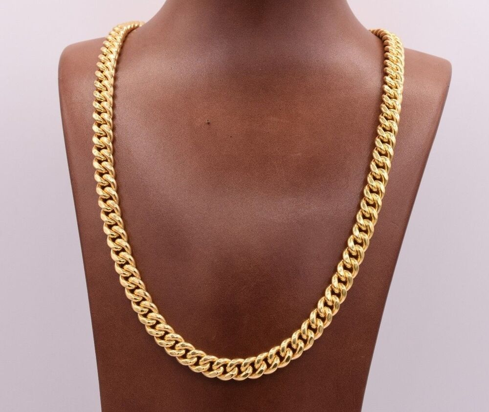 8 5mm Miami Cuban Link Chain Necklace Double Lock Real 10k