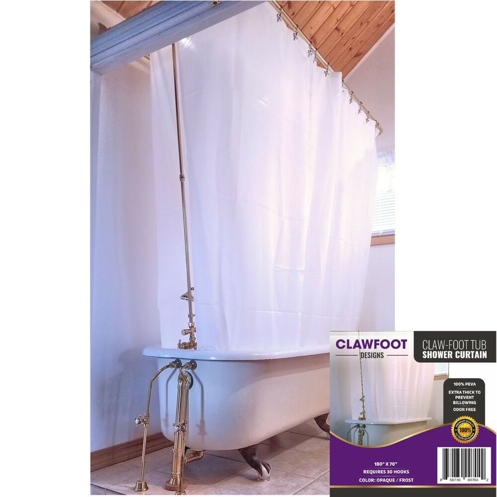Details About Clawfoot Designs Heavy PEVA Tub Shower Curtain Opaque No Odor Extra Wide 180x70