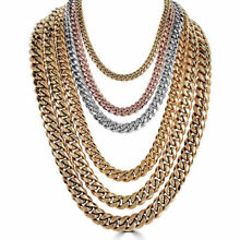 Mens Miami Cuban Link Chain Gold Plated Stainless Steel 8-18mm Yellow/Rose/White