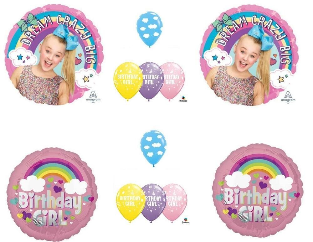 Details About 12 PC JOJO SIWA Happy Birthday Balloons CLOUDS Sky Rainbow Free Ship