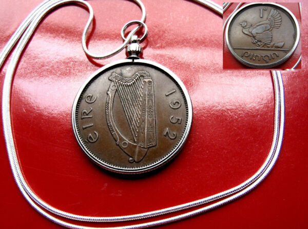1965 IRELAND GAELIC HAND ENGRAVED Harp Penny  on a 30