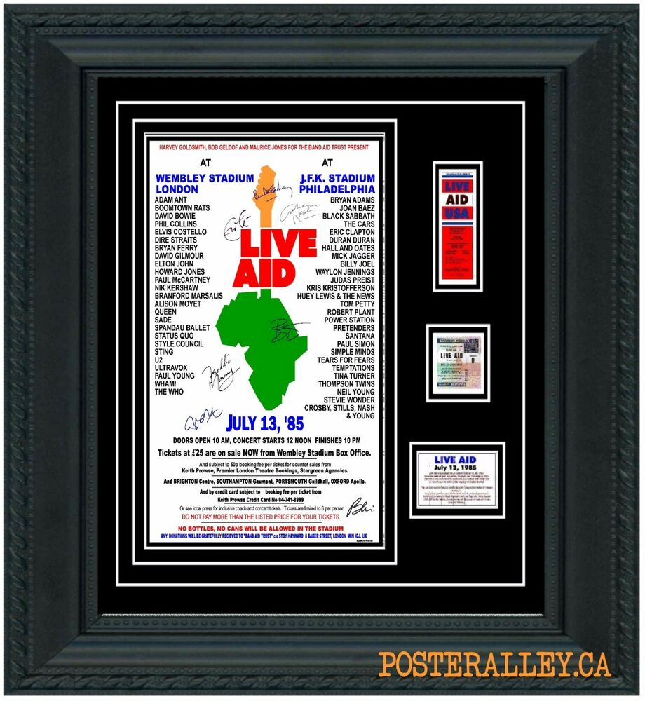 LIVE AID Concert Poster & Ticket set Ready to frame! VERY NICE!!! uk ...