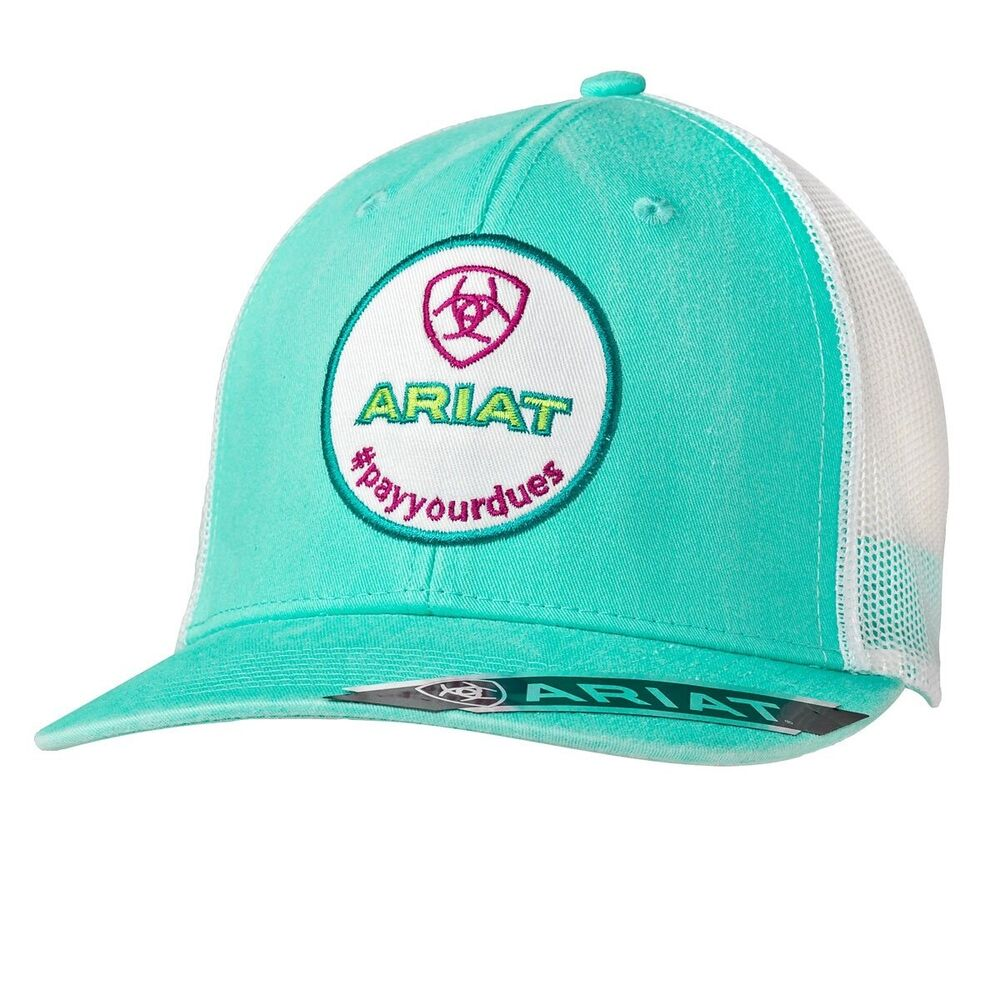 low priced 556fe c2bd1 ... inexpensive ariat womens turquoise white pay your duespatch trucker cap  1516133 ebay 6dee2 a5b37