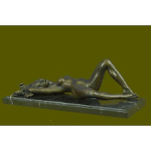 Handmade Bronze Statue French Nude Fully Exposed by Mavchi Lost Wax Home Art