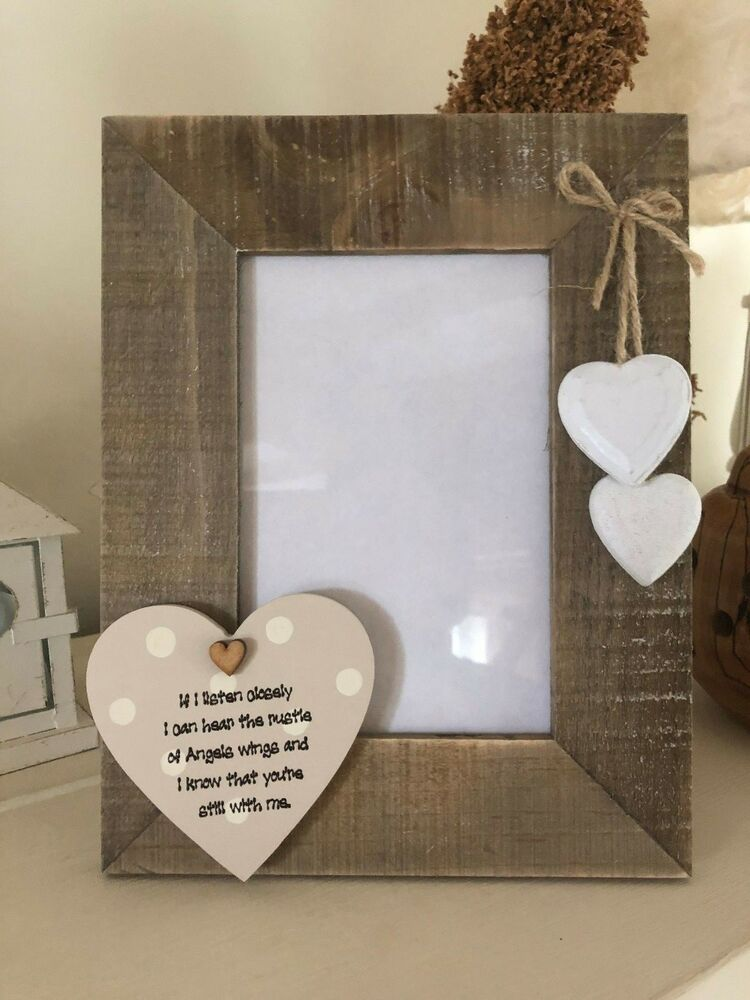 Shabby personalised Chic Photo Frame In Memory Of Loved One Mum Dad ...