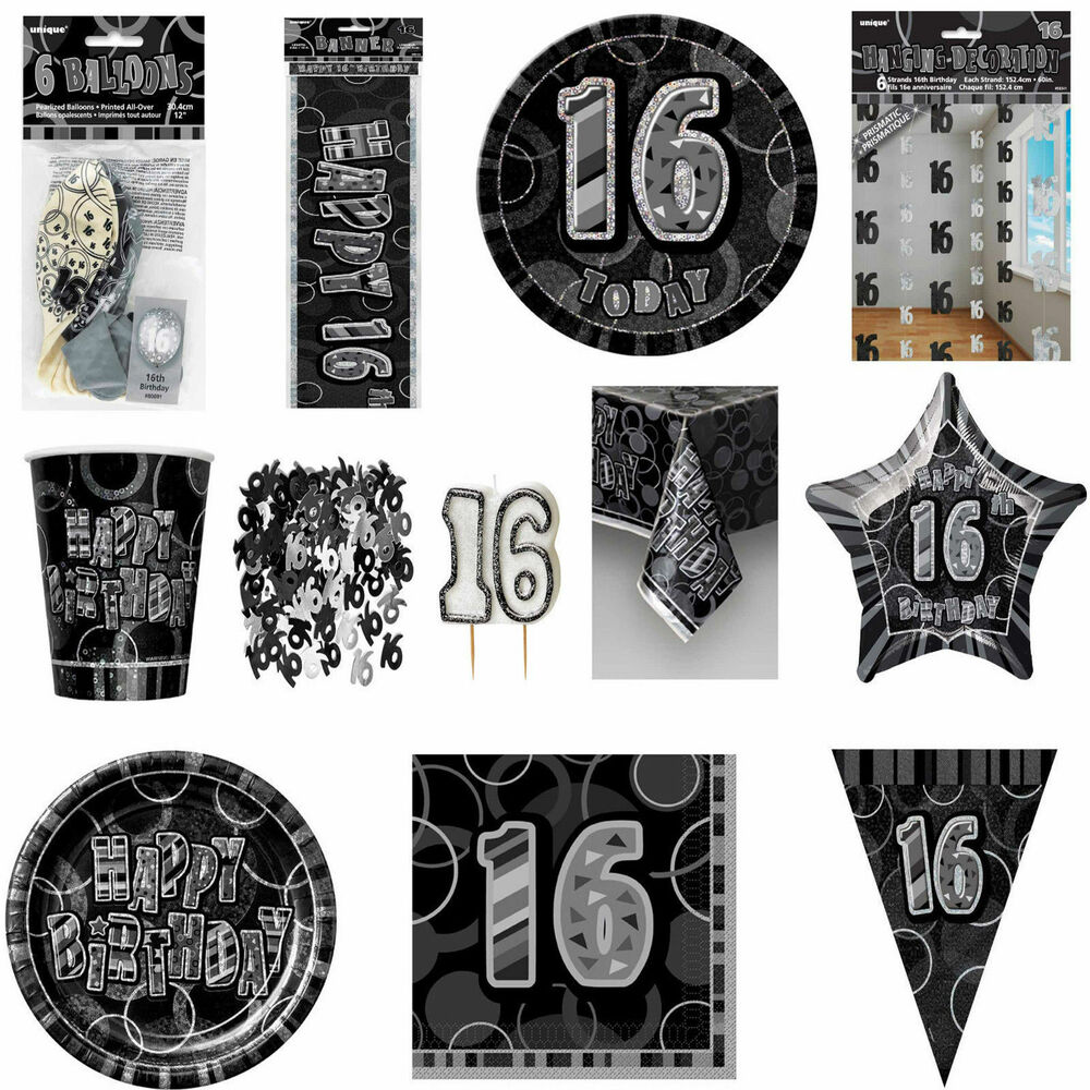 Glitz Black/Silver 16th Birthday Party Tableware