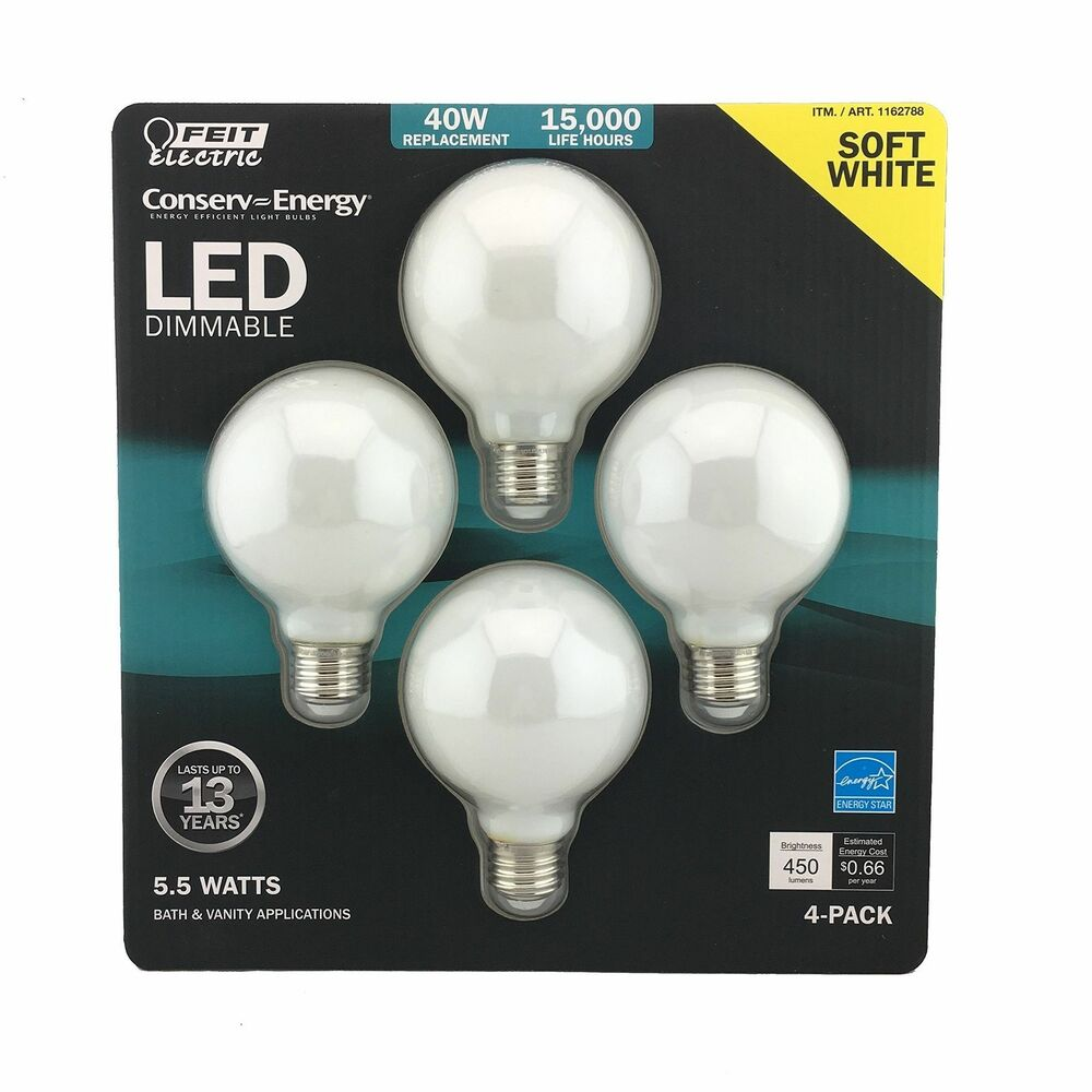 Details About Feit Electric Led 5 5w 2700k G25 Globe Light Bulbs 4 Pack Bathroom