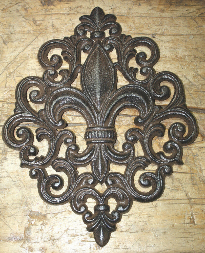 HUGE Cast Iron FLEUR DE LIS Plaque Finial Garden Sign Home ...