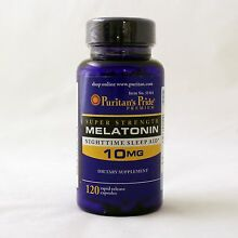 Puritan's Pride Super Strength Melatonin 10 mg 120 Capsules Sleep Aid