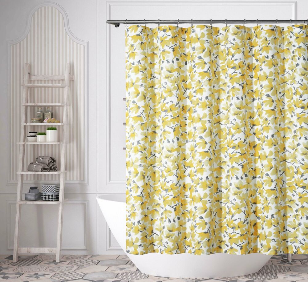 Details About Gray Yellow White Floral Print Fabric Shower Curtain 72IN X72 IN Cotton Blend