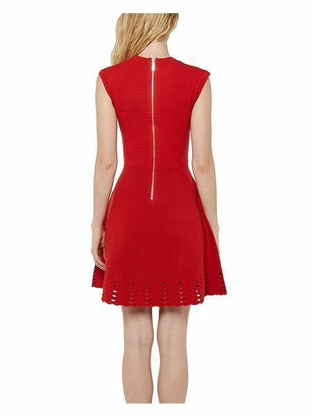 0fad6ae6d19a New TED BAKER Red ZARALIE 8 10 12 14 Jacquard Panel Stretch Knit Skater  Dress